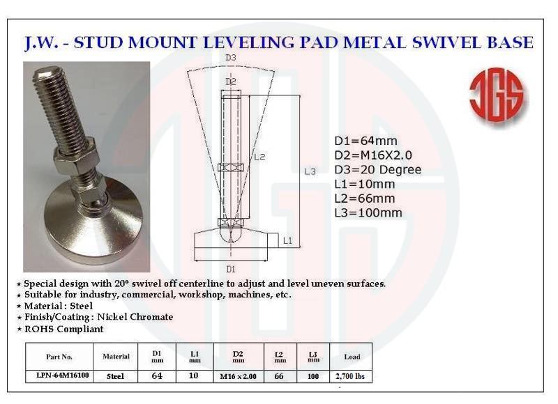 Stud Mount Leveling Pad Metal Swivel Base