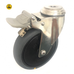 377 Series - Grey Conductive (ESD) Stainless Steel Bole Hole Castors