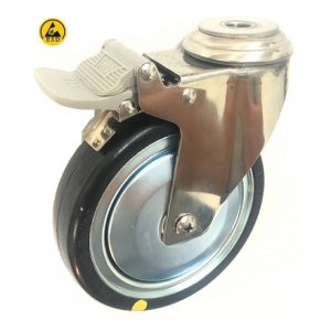 377 Series - Black Rubber Conductive (ESD) Stainless Steel Bole Hole Castors