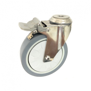 377 Series - Grey Elastic Rubber & Poly Urethane ( ETHER PU) Stainless Steel Bole Hole Castors