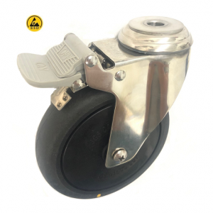 377 Series - Black Conductive (ESD) Stainless Steel Bole Hole Castors